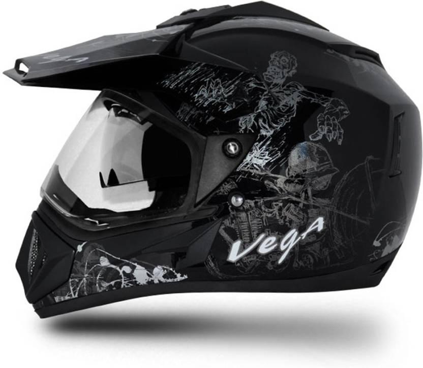Vega Off Road D/V Sketch Dull Full Face Helmet For Royal Enfield Bike